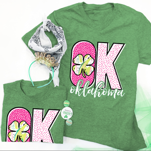 "SWEET TEE TUESDAY: ""OK"" Pattern & Clover - BELLA CANVAS VNECK OR CREW NECK"