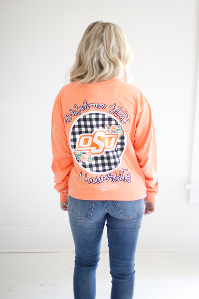 OKLAHOMA STATE UNIVERSITY 2018:  Buffalo Check Circle Back Longsleeve