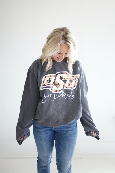 OKLAHOMA STATE UNIVERSITY 2018: Floral Logo - Cotton Sweatshirt