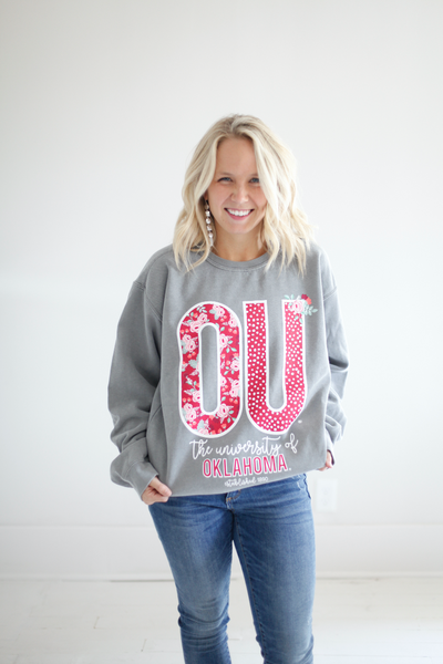 UNIVERSITY OF OKLAHOMA 2018: Confetti & Floral - Cotton Sweatshirt