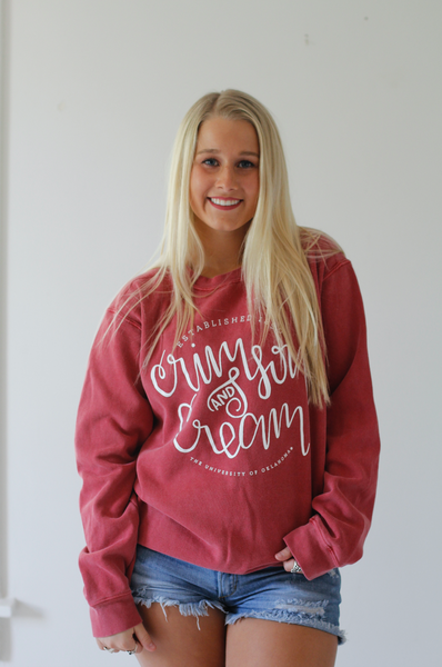 UNIVERSITY OF OKLAHOMA 2018: Crimson & Cream - Cotton Sweatshirt