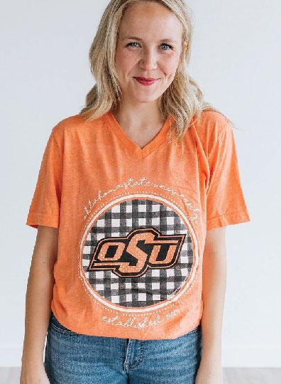 OK STATE 2019: Buffalo Check Athletic Logo - Vneck