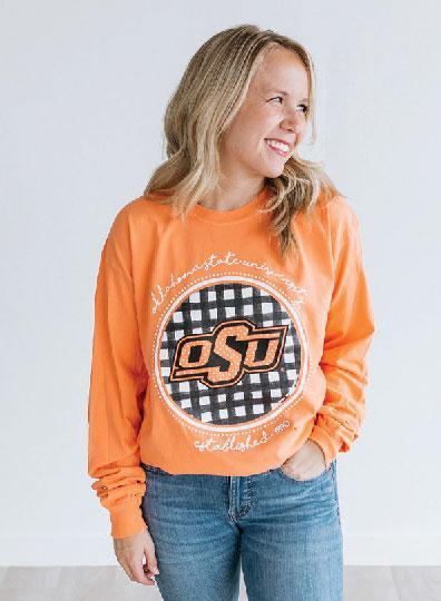 OK STATE 2019: Buffalo Check Athletic Logo - Longsleeve