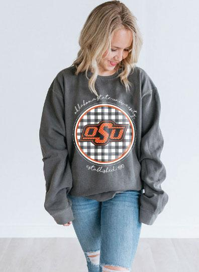 OK STATE 2019: Buffalo Check Athletic Logo - Sweatshirt