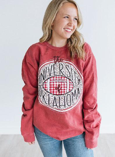 UNIV. OF OK 2019: Leopard & Buffalo Check  - Sweatshirt