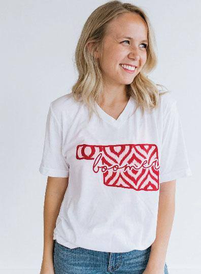 UNIV. OF OK 2019: Ikat & Stripes - Vneck