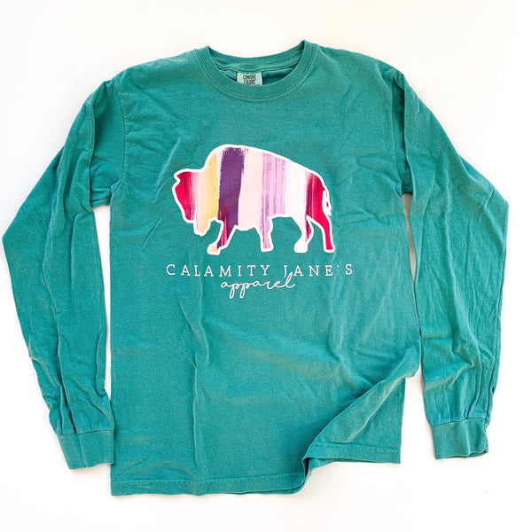 CJ LOGO: Seafoam Painted Stripes Longsleeve