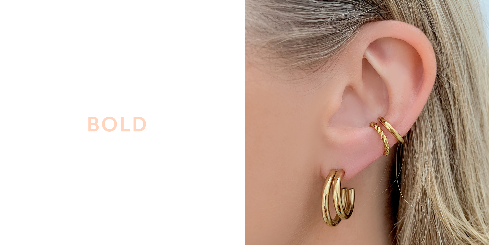 One piercing bold earring stack