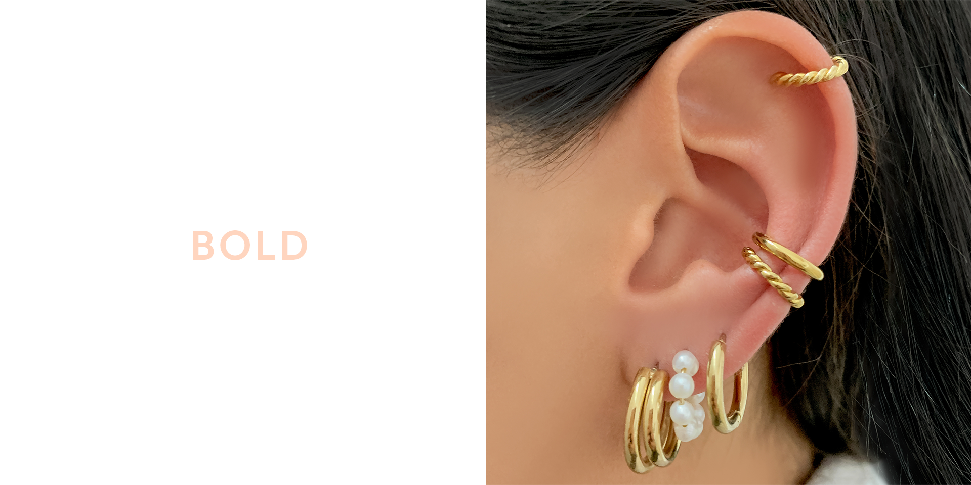 Three piercing bold earring stack