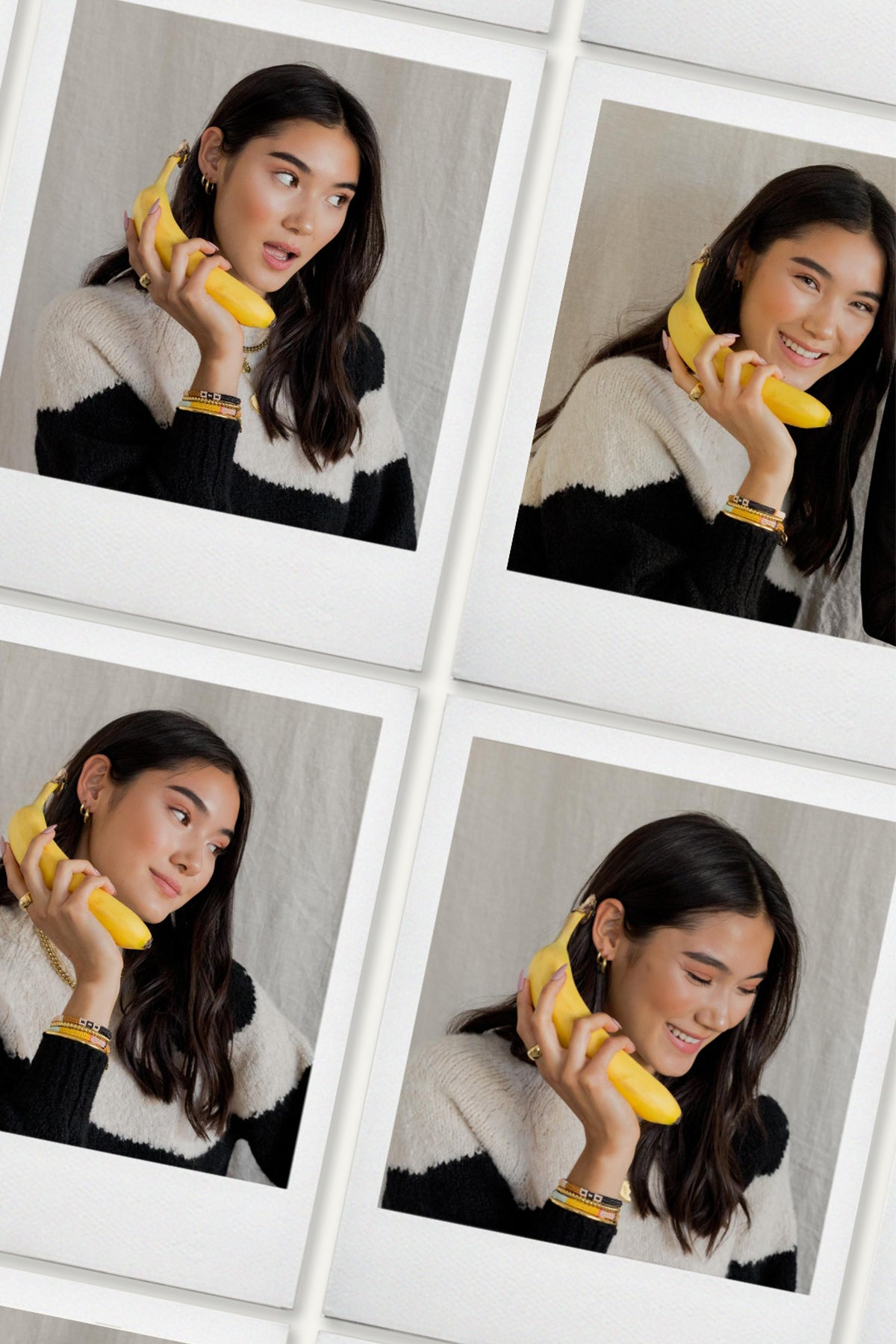 Polaroids of a girl holding a yellow banana pretending it's a telephone