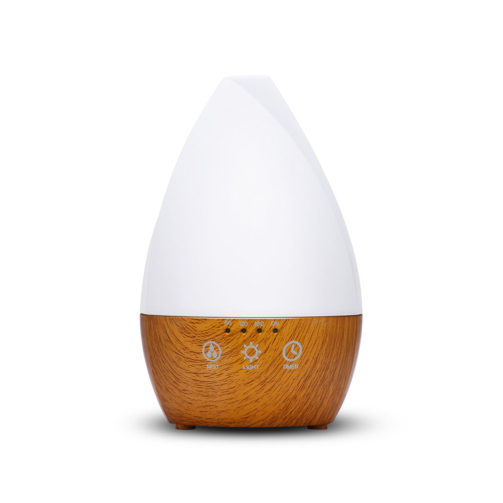 Sea Glass Aromatherapy Ultrasonic Diffuser by Ovvio Oils (200 ml) (wood grain base) 7 Color Mood Light