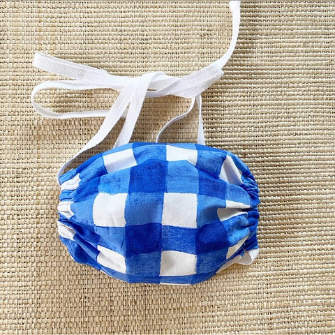 Sarah Jane Premium Cotton Blueberry Watercolor Gingham Mask