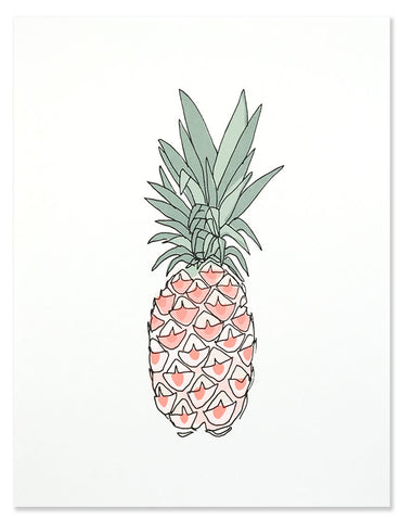Neon Pineapple with pink details art print. Illustrated by Hartland Brooklyn