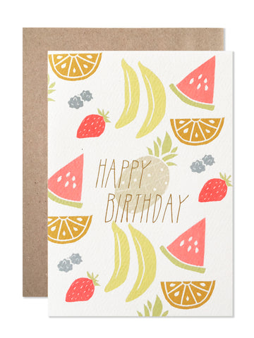 Birthday / 4 bar / Happy Birthday Neon Fruit with Gold Foil - wholesale