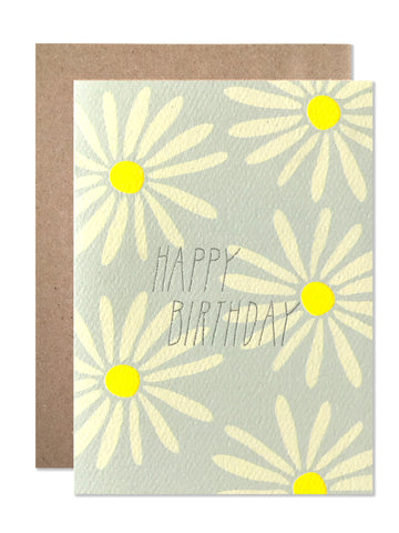 Happy Birthday Daisies with Silver Glitter Foil