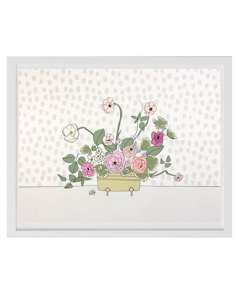 Bouquet of poppies and prim roses in a brass container illustrated by Hartland brooklyn framed in a white frame.