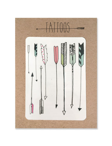 Sorted arrow tattoos illustrated by Hartland Brooklyn printed with vegetable inks and made in the USA.