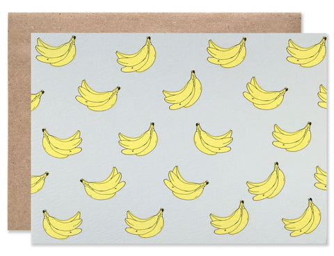 Banana Print black card with neon bananas hand illustrated by Hartland Brooklyn
