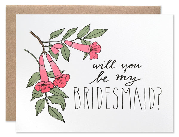 Pink trumpet vine flowers with 'Will you be my bridesmaid' handwriting. Both handwriting and illustrations by Hartland Brooklyn