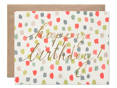 Happy Birthday Multi Color Dots with Gold Glitter Foil