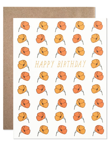 Birthday /  Happy Birthday California Poppies with Gold Foil - wholesale