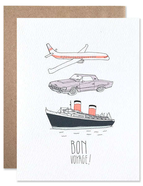 Airplane, car and cruise ship with neon details illustrated by Hartland Brooklyn