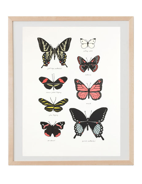 Neon butterfly study art print in natural wood frame. Illustrated by Hartland Brooklyn.