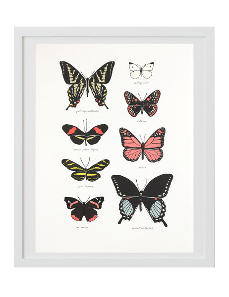 Neon butterfly study art print in white frame. Illustrated by Hartland Brooklyn.