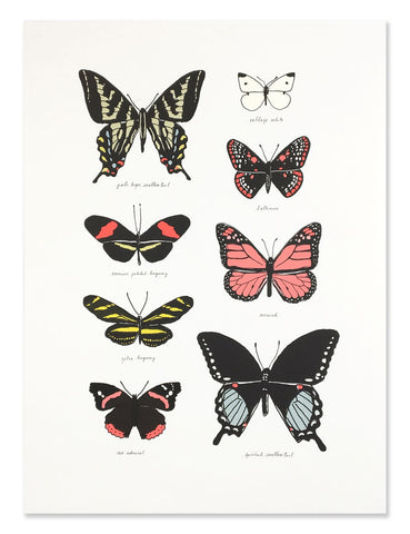 Neon butterfly study art print illustrated by Hartland Brooklyn.