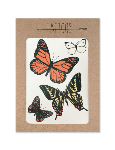 Butterfly tattoos illustrated by Hartland Brooklyn printed with vegetable inks and made in the