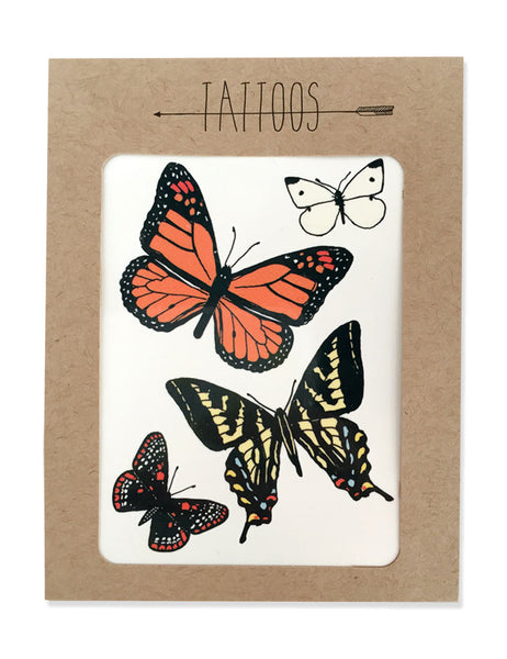 Butterfly tattoos illustrated by Hartland Brooklyn printed with vegetable inks and made in the USA.