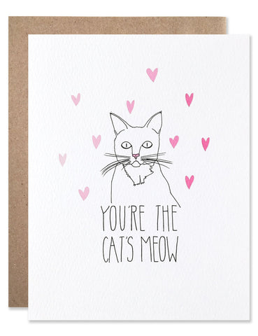 Line illustration of a cat with pink hearts around it's head and hand writing that says, 'You're the Cats Meow'. Illustrated by Hartland Brooklyn.