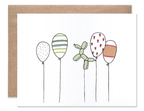 Four balloons with polka, stripes and heart patterns and one balloon shaped like a dog. Illustrated by Hartland Brooklyn