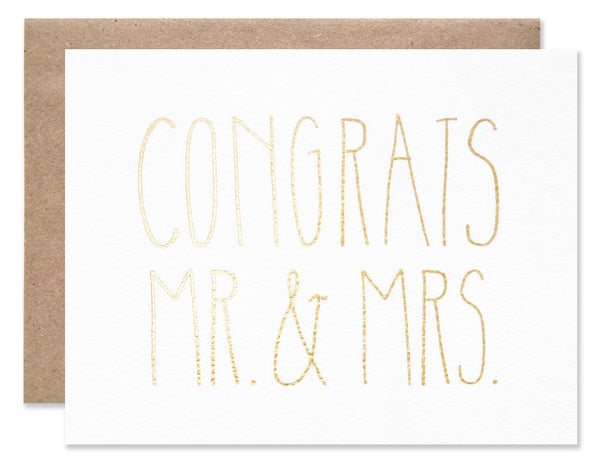 Handwritten capital letters in gold foil Congrats Mr. & Mrs. by Hartland Brooklyn.