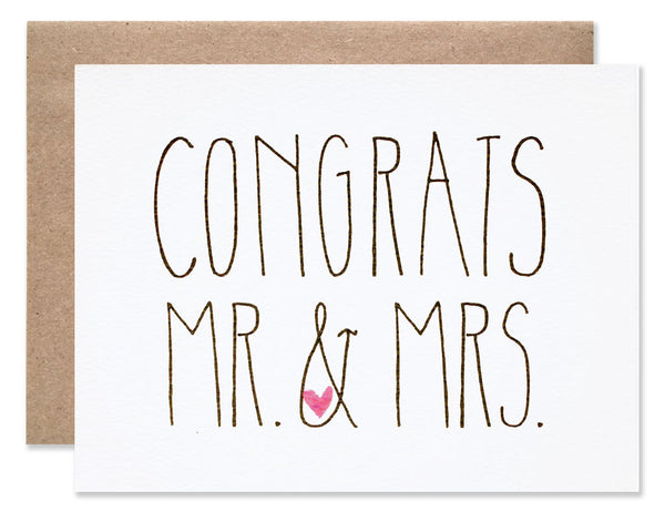 Handwritten capital letters Congrats Mr. & Mrs. by Hartland Brooklyn.