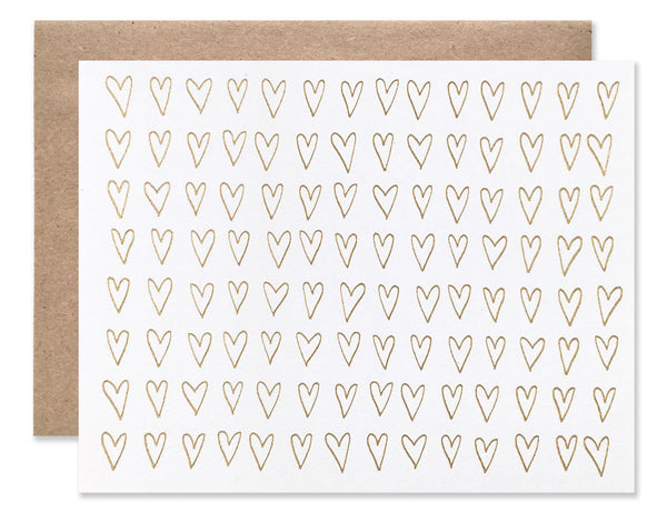 multiple rows of gold foil hearts outlines illustrated by Hartland Brooklyn.