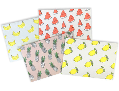 Multi-Fruit pack of the neon banana, watermelons, lemons and pineapple patterned cards. Illustration by Hartland Brooklyn.