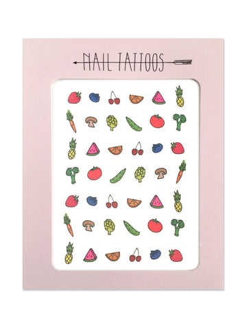 Temporary nail tattoos illustrated by Hartland Brooklyn that include a strawberry, blueberry, cherries, orange slice, watermelon slice, pineapple, carrot, mushroom, artichoke, pea pod, tomato and broccoli.