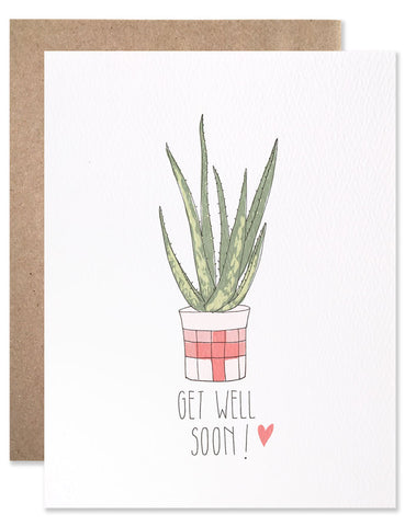 Get Well Soon Aloe plant in a pink pot illustrated by Hartland Brooklyn.