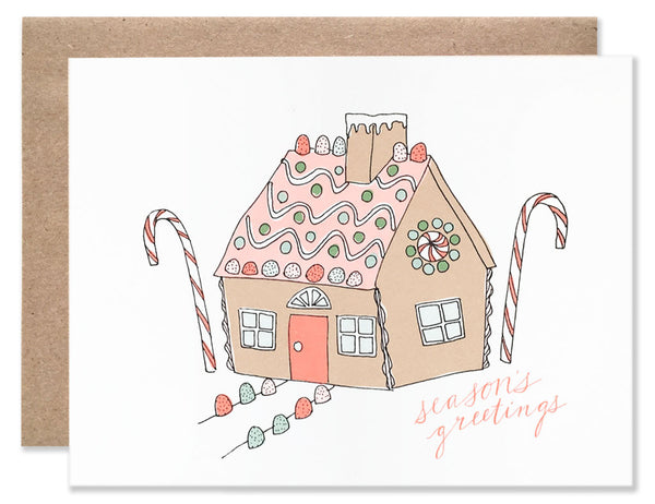 Gingerbread house with candy cane details and gum drops sidewalk markers illustrated by Hartland Brooklyn