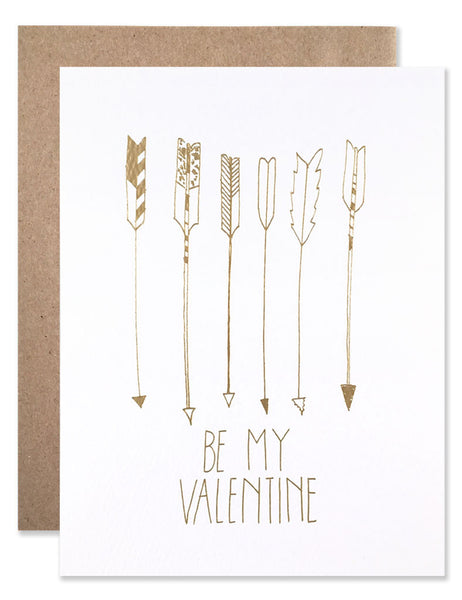 Gold foil stamped Be My Valentine Arrows illustrated by Hartland Brooklyn