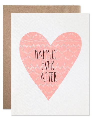 Large neon pink heart with white lace pattern and Happily Ever After written in the center. Illustrated by Hartland Brooklyn.