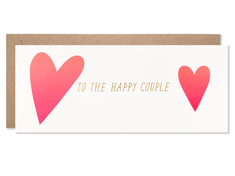 To The Happy Couple Hearts with Gold Glitter Foil