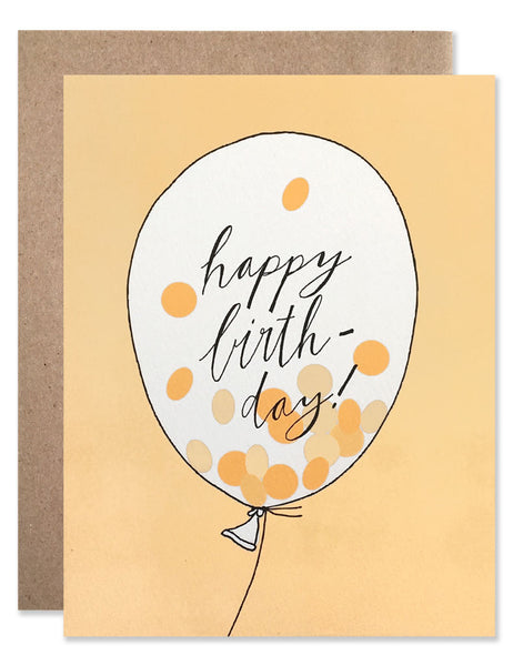 neon orange confetti inside of a balloon that says happy birthday with a neon orange background. Illustrated by Hartland Brooklyn.