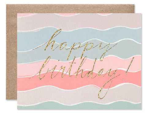 Neon squiggle with gold glitter Happy Birthday foil by Hartland Brooklyn
