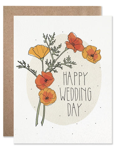 California orange and red poppies sprigs with 'Happy Wedding Day' illustrated by Hartland Brooklyn.