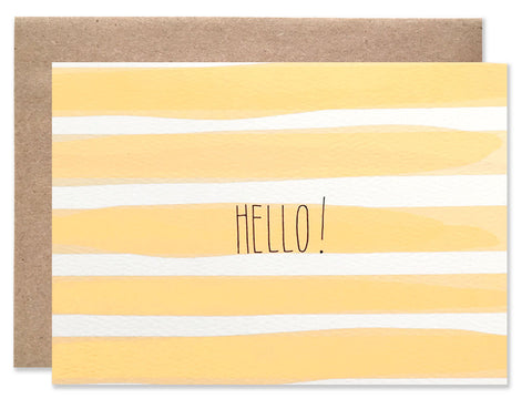 Wide orange water color stripes with Hello! written in the center. Illustrated by Hartland Brooklyn.