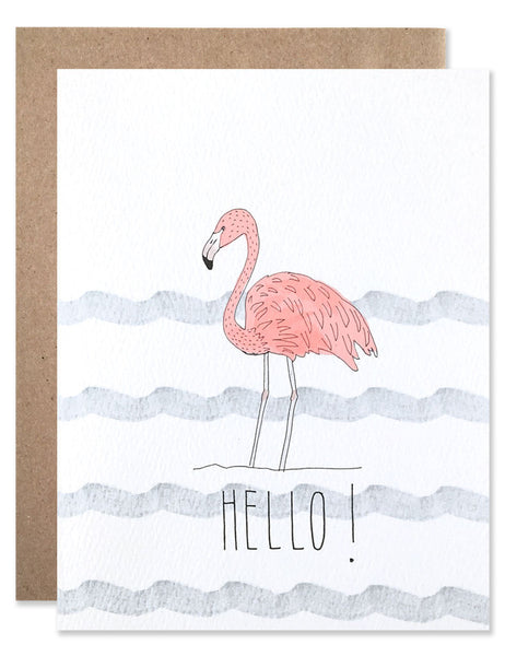 Pink flamingo with blue water stripes illustrated by Hartland Brooklyn