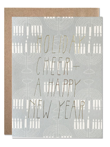 Silver Foil Holiday Cheer and a Happy New Year - Menorah
