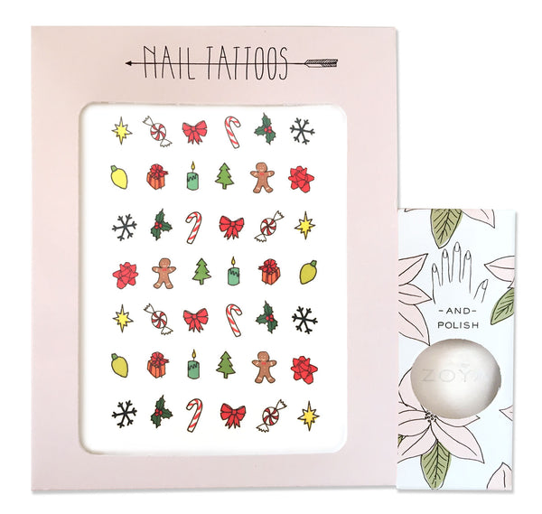 Temporary nail tattoos and polish set with illustrations by Hartland Brooklyn of Holiday inspired icons. White shimmer polish by Zoya.